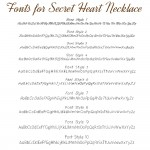 IndiviJewels fonts for Secret Heart Necklace