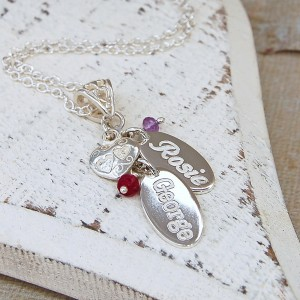Personalised Silver Name Charms Necklace with Birthstones 1