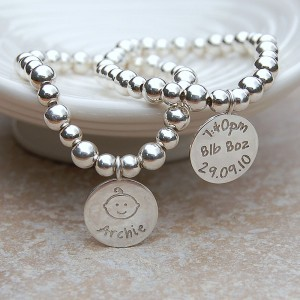 Personalised Silver New Baby Bracelet by IndiviJewels