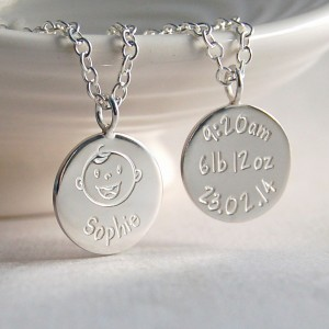 Personalised Silver New Mum Necklace Baby Laughing Main