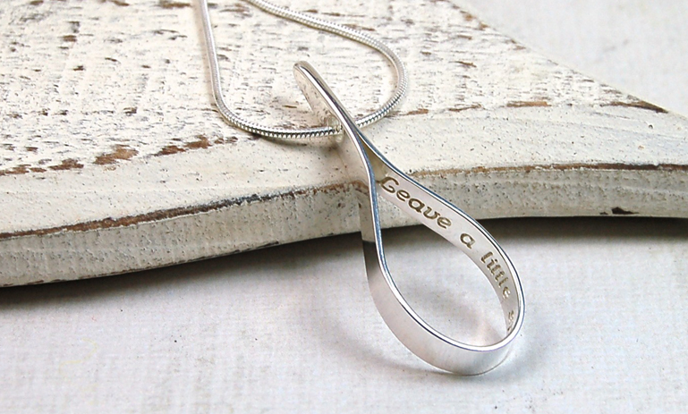 Personalised Silver Teardrop Necklace Slideshow Image