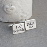 I heart my daddy personalised silver cufflinks 1