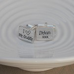 I heart my daddy personalised silver cufflinks 2