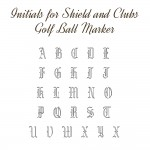 Iniitials for Shield and Clubs Golf Ball Marker