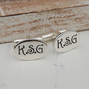 Personalised Oval Initial Cufflinks1