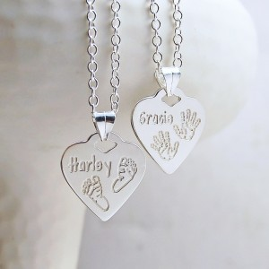 Personalised Silver Heart Shaped Babyprints Necklace by IndiviJewels