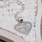 Personalised Silver Baby Footprints Heart Shaped Necklace