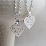 Personalised Silver Baby Prints Heart Shaped Necklace Front and Back