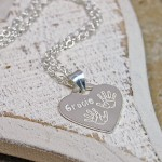Personalised Silver Baby Handprints Heart Necklace Handprints