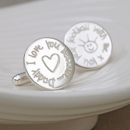 Personalised Silver Daddy I Love you Because Cufflinks
