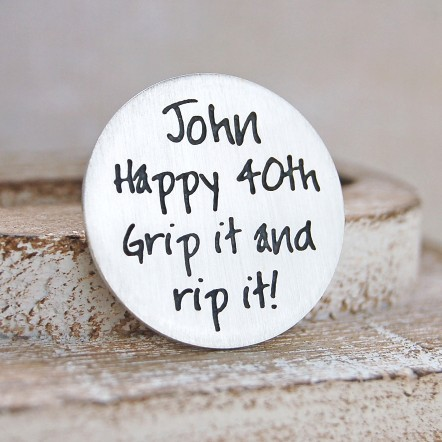 Personalised Silver Golf Ball Marker