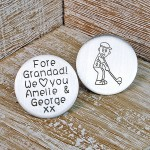 Personalised Silver Golf Ball Marker Childs Writing Font Style 2 with Cartoon Drawing of Golfer 2