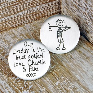 Personalised Silver Golf Ball Marker in Childs Handwriting Font