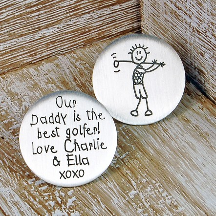 Personalised Silver Golf Ball Marker in Childs Handwriting Font with Childs Drawing of Golfer