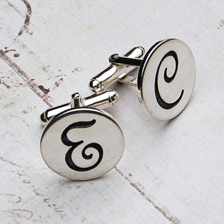 Personalised Silver Initial Cufflinks Main Image