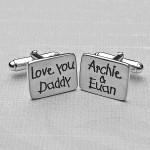Personalised Silver Love You Daddy Cufflinks 2 BW