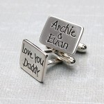 Personalised Silver Love You Daddy Cufflinks 3
