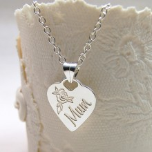 Personalised Silver Heart Shaped Mum Necklace