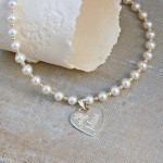 Personalised Silver Mum Necklace on Pearls