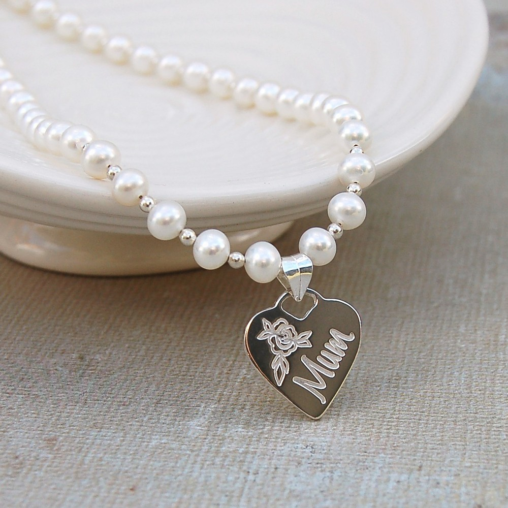 Personalised pearl and silver heart mum necklace indivijewels personalised silver mum necklace on pearls main mozeypictures Image collections
