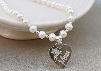 Personalised Pearl and SIlver Heart Mum Necklace