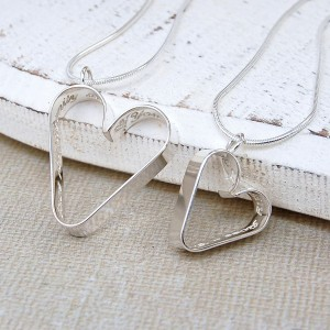 Personalised Silver Me and My Mum Secret Heart Necklaces Set