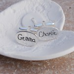 Personalised Silver Name Cufflinks Childrens Writing 1