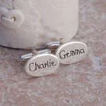 Personalised Silver Name Cufflinks Childrens Writing 3