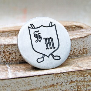 Personalised Silver Shield and Clubs Golf Ball Marker