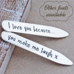 Personalised Silver Shirt Collar Stiffeners with other fonts frame