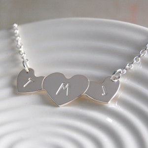 Personalised silver three love hearts with initials necklace