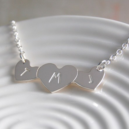 Personalised Silver Three Hearts Necklace with Initials 2