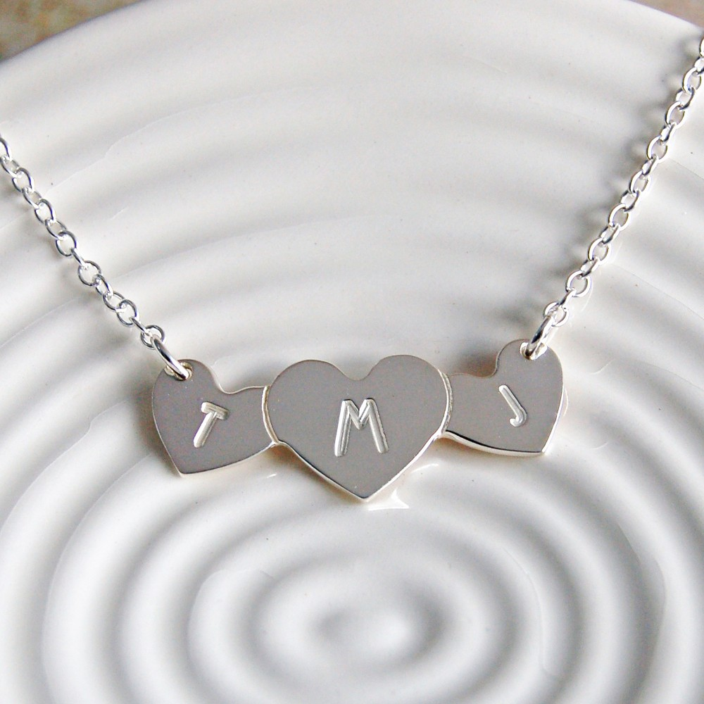 Personalised silver love hearts with initials necklace indivijewels personalised silver three hearts necklace with initials 3 mozeypictures Images