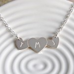 Personalised Silver Three Hearts Necklace with Initials 3