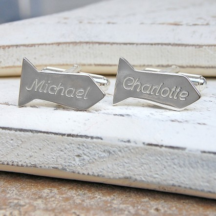 Personalised Silver Tie Shaped Cufflinks
