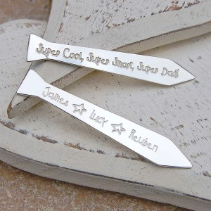 Personalised Silver Tie Shaped Shirt Collar Stiffeners