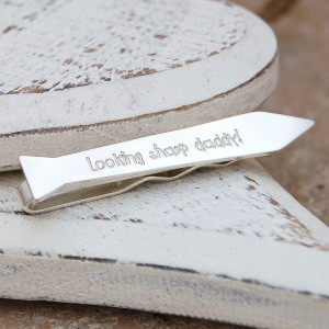 Personalised Silver Tie Shaped Tie Slide