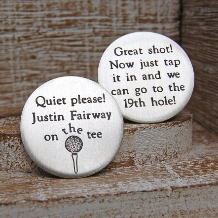 Silver Quiet Please Golf Ball Marker 3