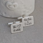 We heart daddy personalised silver cufflinks 1