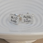 We heart daddy personalised silver cufflinks 2