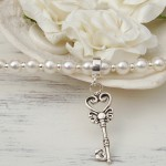 Freshwater Pearl and Sterling Silver Key Charm Necklace 6