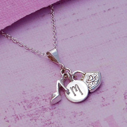 Girls Initial Charm Necklace Main Image