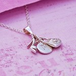 Girls Initial Charm Necklace Side