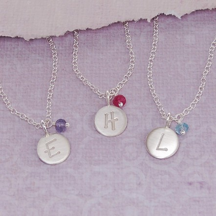 Girls Personalised Initial Necklace with Birthstone