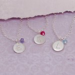 Girls Personalised Initial Necklace with Birthstone 2