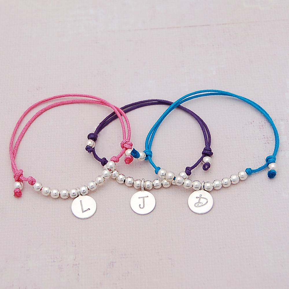 Girls Personalised Silver Friendship Bracelet Indivijewels