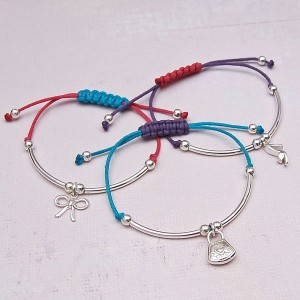 Girls Silver Friendship Bracelets with Charms Main Image