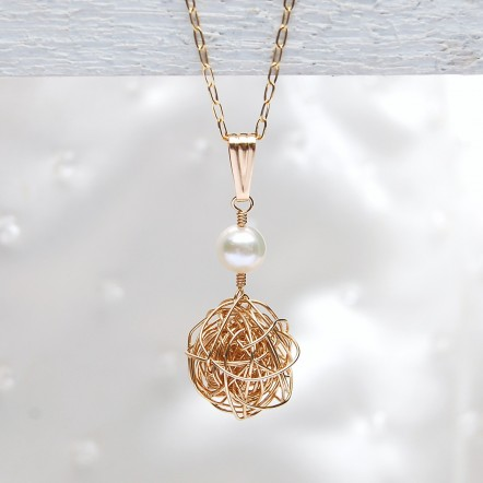Gold Fill Birds Nest and Pearl Necklace