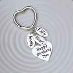 Heart Keyring with Three Name Charms