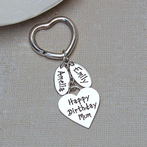 Heart Keyring with Two Name Charms